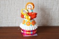 シャバーリナ作 ディムカヴァ土人形 <赤ちゃんを抱く女性>/ 10.5cm