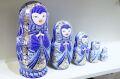 フィラートヴァ作 「祈り」 キラキラ!ひょうたん型マトリョーシカ 5ピース<紺> /16.5cm 【送料無料】