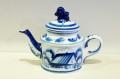 ロシアの陶器 グジェーリ焼 ティーポット 1~2人用 Aタイプ /φ8(16)×12cm