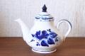 ロシアの陶器 グジェーリ焼 ティーポット 2~3人用 /φ12(18)×15cm