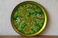ホフロマ塗り 緑色 φ30cm丸盆(大皿) <スズラン&ベリー>
