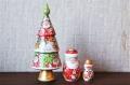 イリーナ・ヴァトゥルーシキナ作 クリスマスツリー型マトリョーシカ  <ヨールカ・ジェド=マロース・雪だるま> 3ピース/ 16.2cm 【送料無料】