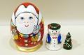 イリーナ工房 ロシアのサンタクロース・ジェド=マロース クリスマス卵型マトリョーシカ 3ピース /8.3~8.6cm