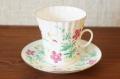 インペリアルポーセレン(ロマノーソフ) ピンクの花と虫 カップ&ソーサー 175ml