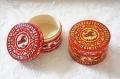 ミトローヒナ作 ロシアの伝統的工芸・メゼーニ塗り 円形小箱 直径5cm×高さ3.2cm