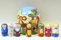 ニキーチン工房作 「チェブラーシカと仲間たち」 ドーム型マトリョーシカ 人形7個+箱1ピース /10cm