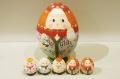 オリガ作 卵型 お母さんマトリョーシカ こども5人タイプ(1) <男の子とお母さん>/12.5cm