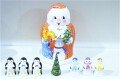 オリガ作 クリスマス・ジェド=マロース(ロシアのサンタ)マトリョーシカ <雪だるま&ペンギン&ツリー> 7+1ピース/10cm