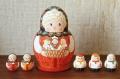 オリガ作 ダルマ型 お母さんマトリョーシカ こども5人タイプ(1) <男の子2人と女の子>/12.5cm