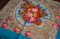 プラトーク(ロシアのウール・ショール) Lサイズ 125×125cm/ トルコブルー地に花柄【送料無料】