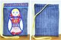 ハンドメイド!ロシアンコットン アップリケマトリョーシカ・ポシェット / 20.5×15.5cm 【クリックポスト送付可】