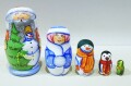 ニキーチン工房 クリスマスマトリョーシカ Sサイズ5ピース ジェド=マロース、スニェグーラチカ、雪だるま、ペンギン、ヨールカ/9.7cm