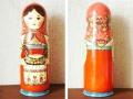 リャボヴァ作 ウッドバーニング・マトリョーシカ木製ボトルケース<ティータイム>/ 35.5cm 【送料無料】