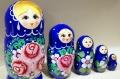 セミョーノフ産 民族衣装マトリョーシカ 5ピース <バラ模様/ブルー> /19cm