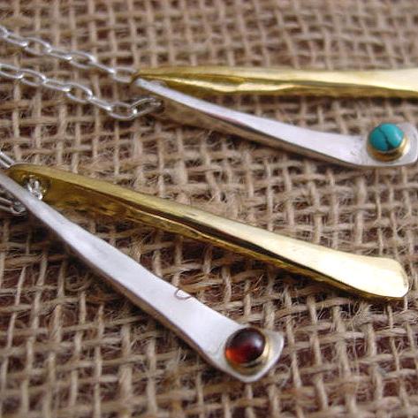 シルバー×真鍮 ハンドメイドストーンネックレス