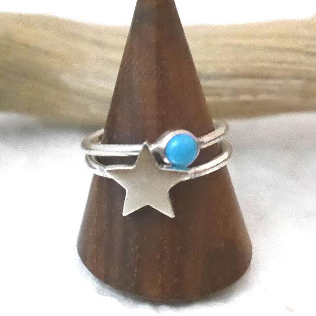 星と天然石 シルバー2連リング