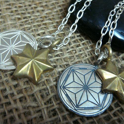 RYOKU シルバー×真鍮 2連ネックレス 麻 【チェーン付き】