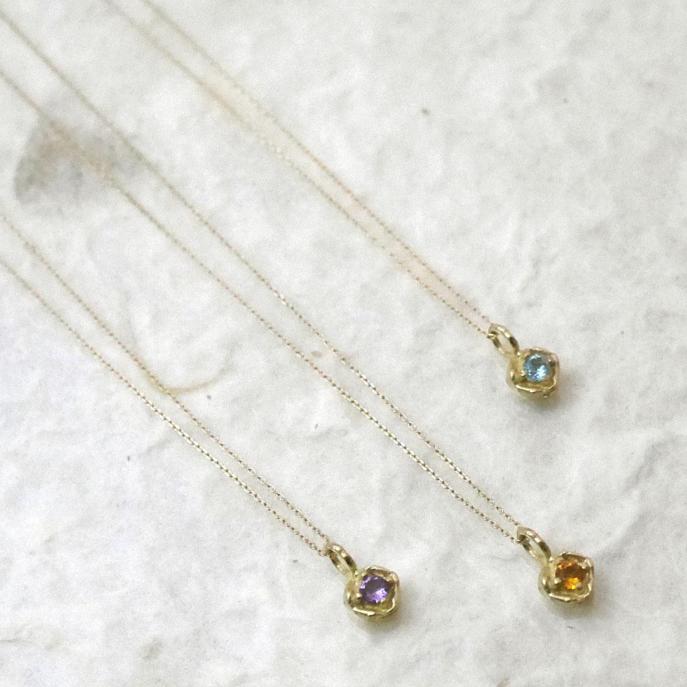 天然石×K10イエローゴールド ネックレス