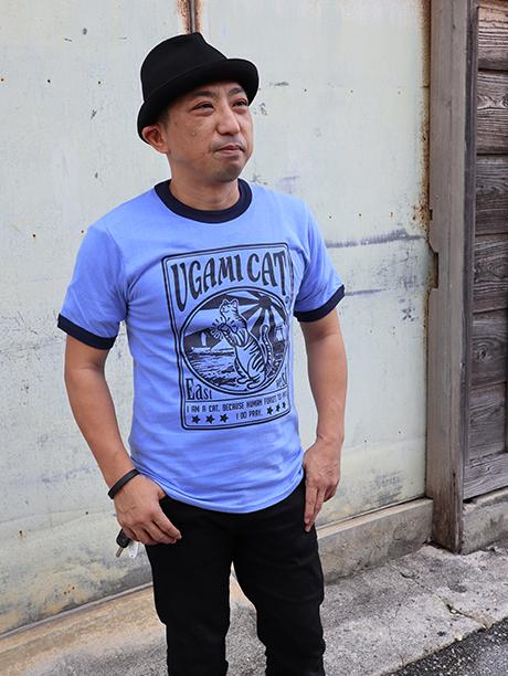 リンガーTシャツ UGAMI CAT
