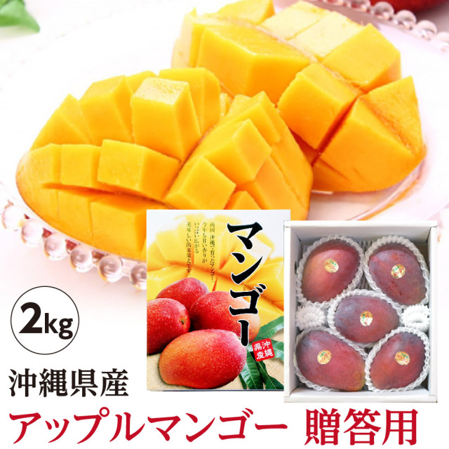 【送料無料】 沖縄県産 アップルマンゴー 贈答用 2kg(4玉~6玉)