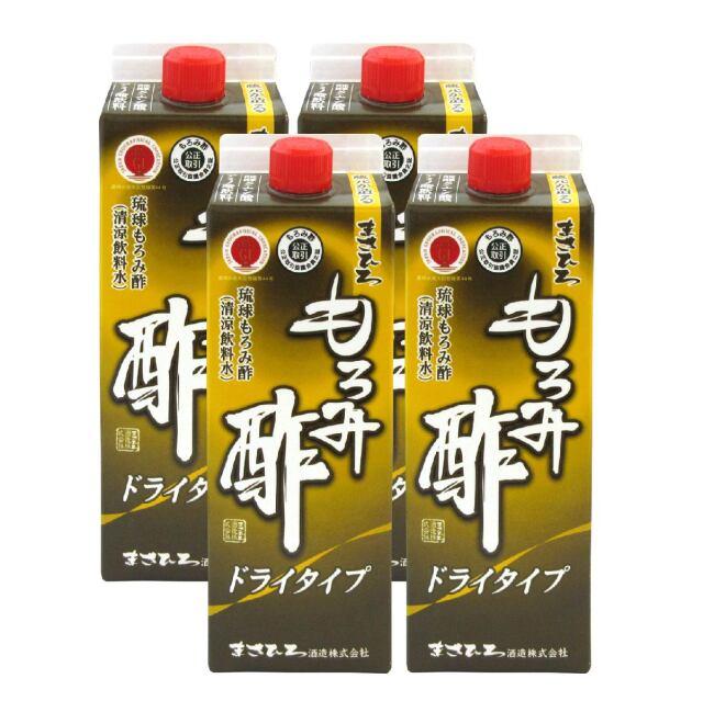 【送料無料】まさひろ もろみ酢 ドライタイプ(無加糖) 紙パック 900ml×4本セット