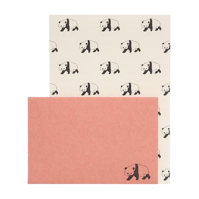 リュリュ:アニマルパレードレターセット:便箋8枚+封筒4枚セット:パンダ