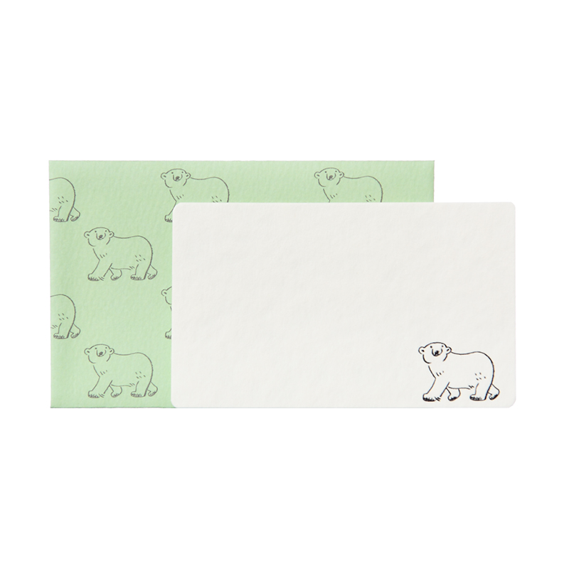 NMCS-04:ミニメッセージカード5枚+封筒5枚セット:中島良二のアニマルパレード:シロクマ【クロネコDM便対応】