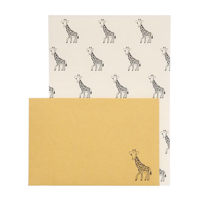 リュリュ:中島良二のアニマルパレードレターセット:便箋8枚+封筒4枚セット:キリン