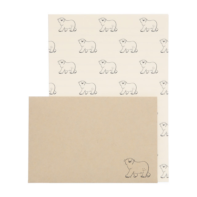 リュリュ:中島良二のアニマルパレードレターセット:便箋8枚+封筒4枚セット:シロクマ