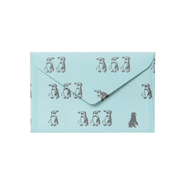 NMCS-02:ミニメッセージカード5枚+封筒5枚セット:中島良二のアニマルパレード:ペンギン【クロネコDM便対応】