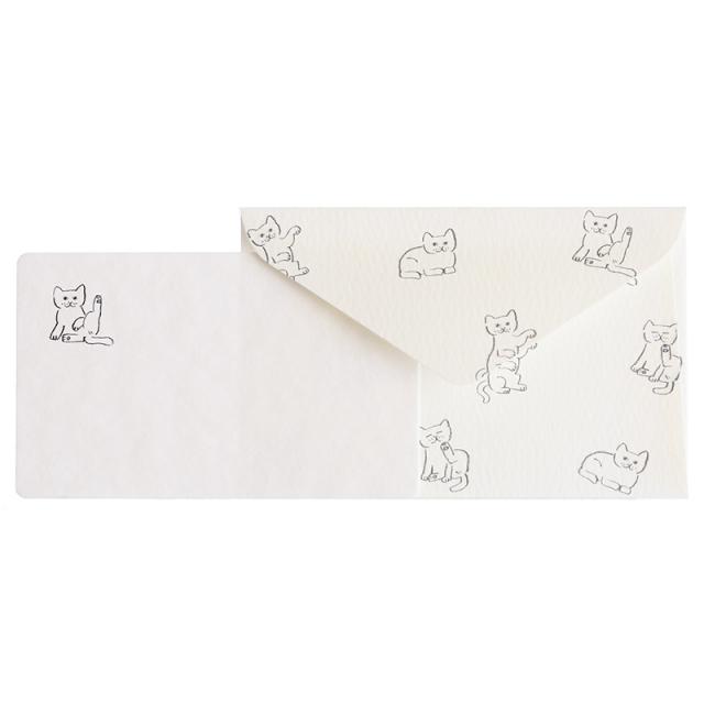 NMCS-07:中島良二デザイン「ミャーゴシリーズ」メッセージミニカード5枚+封筒5枚セット:シロ【クロネコDM便対応】