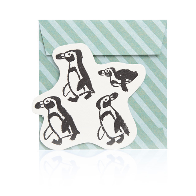 リュリュ:中島良二のアニマルパレードグリーティングカード:カード1枚+封筒1枚セット:ペンギン