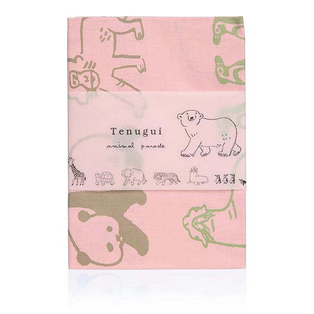 リュリュ:中島良二のアニマルパレードシリーズ:大阪・堺ナカニ製:注染(ちゅうせん)てぬぐい:ピンク