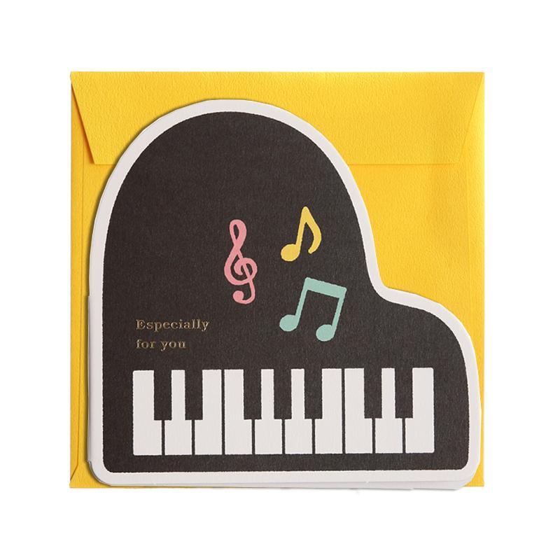 二つ折り寄せ書き:ピアノ・カタヌキ