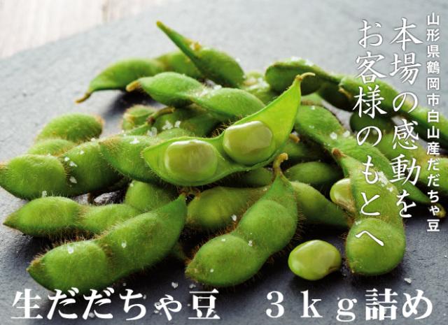 【3kg詰】生だだちゃ豆 【お得な送料キャンペーン対象外の商品となります】
