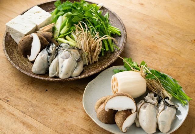 【送料込】 もまれ牡蠣セリ鍋仕立てと 名残のれんこん