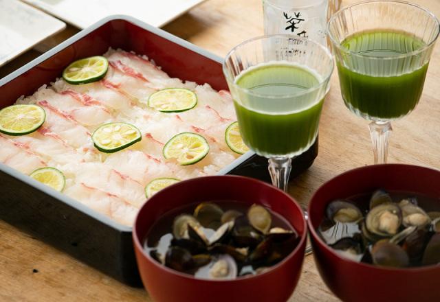 【送料込】生鮮便第71回  鯛と酢橘寿司 べっこうしじみ汁 冷やし煎茶