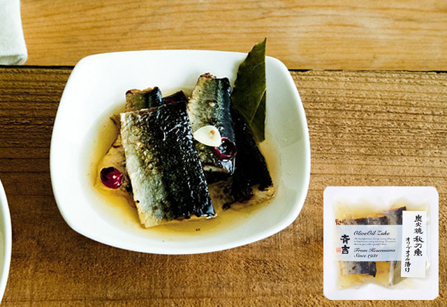 炭火焼秋刀魚オリーブオイル漬け