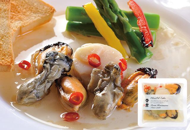 ムール貝牡蠣帆立オリーブオイル漬