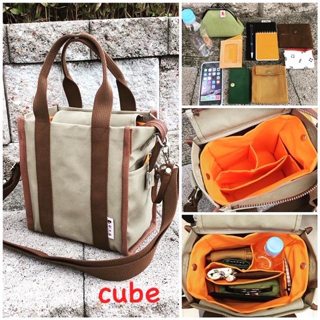 The Cube (B5サイズ、2WAY:手提げ・ショルダー) [尾道 帆布鞄 彩工房]