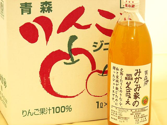 みかみ家のりんごジュース 100%無添加 ふじ 1L