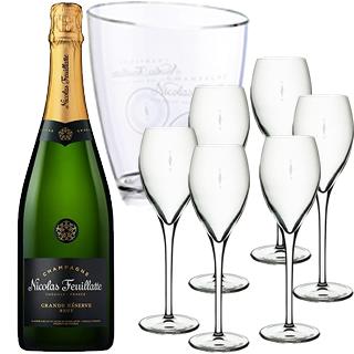 ニコラ・フィアット・グラン・レゼルヴ・ブリュット(750) 3本ご購入で、アイスクーラー1個 + グラス6脚プレゼント