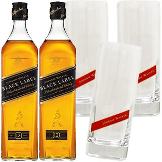 <グラスキャンペーン>ジョニーウォーカー・ブラックラベル12年(40度/700ml)(正規)(1012023) 2本ご購入で、グラス3個プレゼント<景品は同梱>