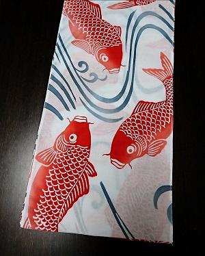 鯉の滝のぼりで運勢も上々〜粋なデザイン〜贈り物にも最適〜丸太セレクション〜六尺23cm幅 赤鯉(徳岡生地)|ふんどし 褌の通販なら さくらい