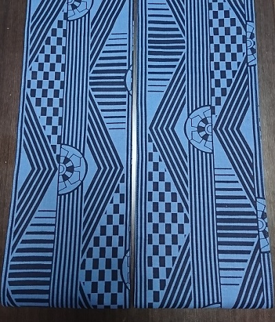 六尺半幅 青色車(徳岡生地)|珍しい青色