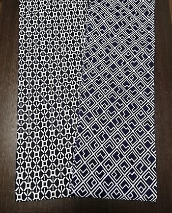 限定10枚の亀甲型の黒とL文字デザインの紺〜丸太セレクション〜六尺半幅 黒と紺(特岡生地)|ふんどし 褌の通販なら さくらい