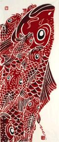 元気がもらえる日本の伝統工芸!鮮やかな手拭い~にじゆら~ 赤い鯉 |ふんどし 褌の通販なら ふんどし手拭い専門店 さくらい