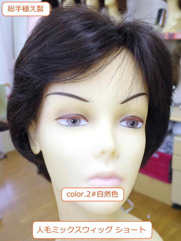 人毛ミックスウィッグ MIX  ショート地肌付き左分けブロースタイル 総手植え製  医療用にも最適 hm05 カラー2自然色