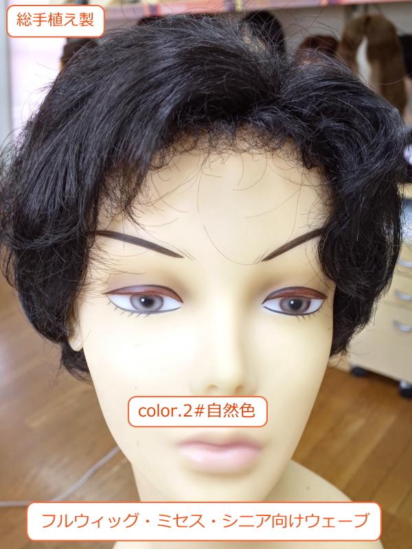 フルウィッグ 人工毛 ミセス・シニア向け 総手植え製ウェーブ k-5 医療用にも最適