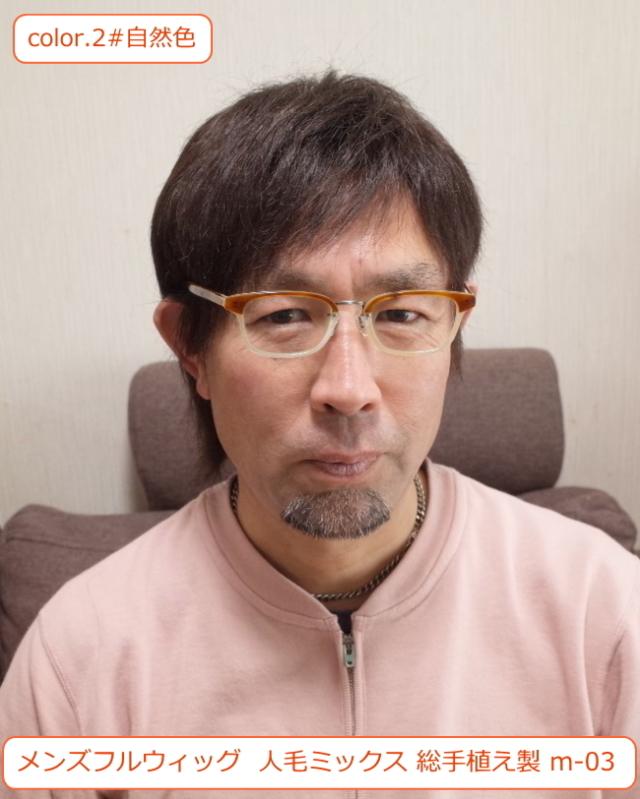 メンズフルウィッグ 男性用 全かつら 人毛ミックス MIX 総手植え製 m-03 医療用にも最適